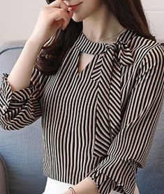 Blouse styles - Sashes Stripe ONeck Lantern Sleeves Women's Blouses Neck Designs For Suits, Sleeves Designs For Dresses, Dress Neck Designs, Blouse Designs, Kurta Designs Women, Blouse Styles, Stylish Dresses For Girls, Stylish Dress Designs, Dress Shirts For Women