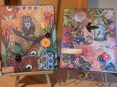 Napkin Collage Art Canvas