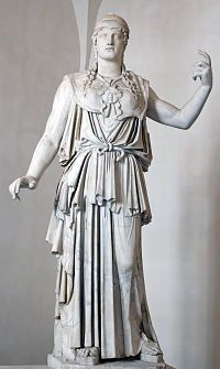 Athena  Goddess of Wisdom, Warfare, Divine intelligence, Architecture and Crafts,   Patron Goddess of Athens,         Abode     Mount Olympus,         Symbol     Owls (Glaucus), Olive trees, Snakes, Aegis, Armor, Helmets, Spears, Gorgoneion,         Parents     Zeus and Metis,         Siblings     Porus,         Roman equivalent     Minerva