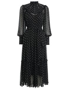 The Espionage Swing Yoke Dress in Black/Peach Dot from our Fall 2019 Ready To Wear Collection. Constructed from lightweight silk, this embroidered dot midi dress features a relaxed silhouette and soft blouson sleeves. Chiffon Dress, Dress Skirt, Australian Fashion Designers, Looks Style, Modest Outfits, Dress Me Up, Designer Dresses, Beautiful Dresses, Short Dresses