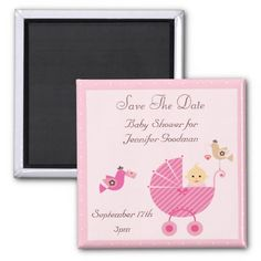 Pink Stroller and Birds Save The Date Baby Shower Fridge Magnet
