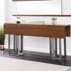 Ivy Bronx Eleanora Drop Leaf Console to Dining Table , Narrow Dining Tables, Dining Table Sale, Counter Height Dining Table, Solid Wood Dining Table, Dining Table In Kitchen, Table And Chairs, A Table, Entryway Tables, Dining Room
