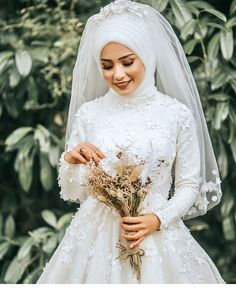 # Hijab Simplicity Grace Hijab Wedding Dresse… – About Wedding Dresses Wedding Abaya, Hijabi Wedding, Muslim Wedding Dresses, Muslim Brides, Short Bridesmaid Dresses, Bridal Dresses, Wedding Gowns, Muslim Couples, Wedding Cakes