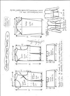 Esquema de modelagem de casaqueto com pregas tamanho 42.