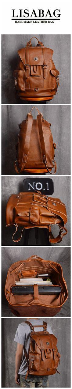 Handcrafted Full Grain Leather Travel Backpack Unisex Designer Leather  Backpack 15   Laptop Backpack NP03. LISABAG 16975c9e8e