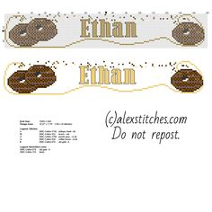 Name Ethan with a chocolate biscuit free cross stitch pattern