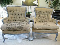 Coffee and cocoa sacks used on antique furniture.