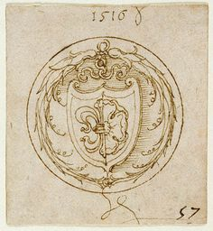 Design for an Ornament or Signet Ring with the Arms of Lazarus Spengler, by Albrecht Dürer, German, 1516, Pen and brown ink