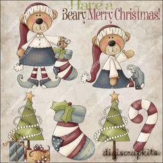 Beary Christmas 1 Clip Art Set
