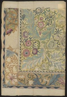 Design for an embroidered panel with border by William Morris, 1878. Musuem number E.55-1940, part of the May Morris Bequest