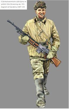 ARMATA ROSSA - Soldato in tenuta invernale armato di Browning 28