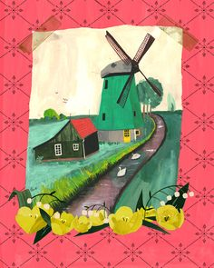 windmill, Holland, Dutch, Netherlands, illustration, Anisa Makhoul, tulips, travel