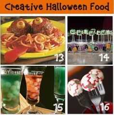 Halloween Food: 17.Spider Truffles 18.Cookie Ghost 19.Gourmet Caramel Apples 20.Witch Cupcakes