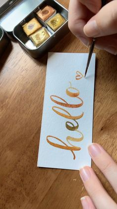 This gold paint is perfect for lettering pretty words ❤️ I love modern calligraphy styles! This gold paint is perfect for lettering pretty words ❤️ I love modern calligraphy styles! Calligraphy Handwriting, Calligraphy Letters, Modern Calligraphy, Calligraphy Video, Calligraphy Drawing, Learn Calligraphy, Watercolor Lettering, Brush Lettering, Gift Ideas