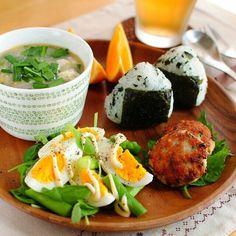 Japanese meal - egg, onigiri