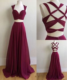 prom dress — Burgundy two pieces long prom dress