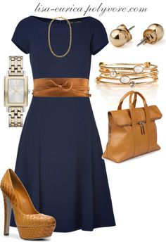 """Navy & Tan"" by lisa-eurica on Polyvore"