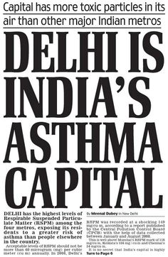 Delhi is India's asthma capital Air Pollution In India, Traffic Congestion, Asthma, Goku, Masks, Environment, Outdoor, Outdoors, Outdoor Living