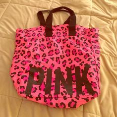 victoria's secret PINK leopard print bag hot pink VS bag with leopard print. only one small scratch otherwise barely used and super cute. Victoria's Secret Bags