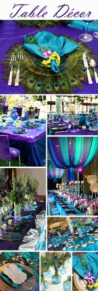 Wow! LOVE the bright colors, but I wouldnt have all the peacock feathers. Those are just my favorite colors! :)   Your Wedding Colors  Peacock  Exclusively Weddings Blog | Wedding Planning Tips and More @Hailee Richman Platt