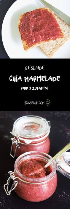 Chia Marmelade selber machen The best jam ever ! Made easy and fast! Easy Cake Recipes, Vegan Recipes, International Recipes, Vegan Vegetarian, Clean Eating, Good Food, Food And Drink, Healthy, Chia Jam