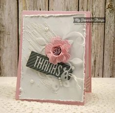 Shabby Thanks- Stamps: Diagonal Stripes Background (MFT)  Paper: Pink Lemonade, Steel Blue, Sweet Tooth, Translucent Vellum (MFT)  Paper Size: A2  Ink: Bubblegum, Steel Blue (MFT)  Accessories: Die-namics Mini Hybrid Heirloom Rose, Leaf-Filled Flourish, Tag Talk (MFT), Distressing Tool, Adhesive Pearls, Diagonal Stripes Stencil, Modeling Paste, Foam Tape. Read more: http://www.splitcoaststampers.com/gallery/photo/2542411#ixzz3sXhsjCMp