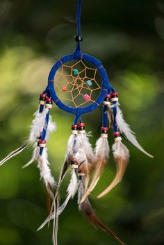 Hand Made Small Dream Catchers With Feathers Royal Blue