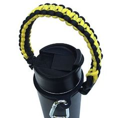 Amazon.com : Best Hydro Flask Handle - Paracord Survival Strap - Fits Most Wide Mouth Water Bottles - #1 Camping, Hiking, Sports & Outdoor Water Bottle Carrier, includes Lifetime Warranty (Yellow/Black) : Sports & Outdoors