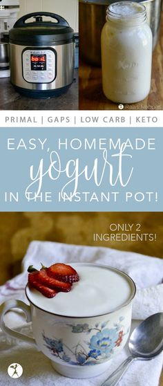 Step-by-step how to make Easy Homemade Yogurt in the Instant Pot! You'll never go back to those silly yogurt makers. Step-by-step how to make Easy Homemade Yogurt in the Instant Pot! You'll never go back to those silly yogurt makers. Diet Dinner Recipes, Real Food Recipes, Meal Recipes, Recipies, Instapot Yogurt, Instant Pot Yogurt Recipe, Homemade Yogurt Recipes, Probiotic Yogurt, Paleo Yogurt