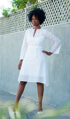 Open-Keyhole Dress with Long Sleeves & Rope Belt in Scalloped White Eyelet. Short Wedding Dress, High Neckline, Made To Order.