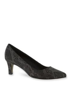 Easy Street Black Silver Pointe Pump