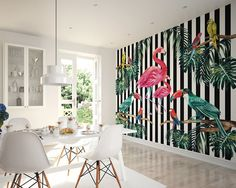 Large Photo Wallpaper Wall Mural for Dining Room Wall Decor, Kitchen Decor, Bedroom Wall Art - Tropical Island Life Wallpaper by PurpleEyeDesign on Etsy Flamingo Wallpaper, Tropical Wallpaper, Bird Wallpaper, Photo Wallpaper, Wallpaper Murals, Bedroom Wallpaper, Motif Tropical, Tropical Decor, Tropical Birds