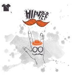 Vintage hand with hipster mustache vector  by Thanks4purchase on VectorStock®