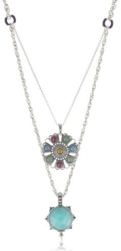 http://cheune.com/store Lucky Brand Indian Double-Drop Pendant Necklace, 20""