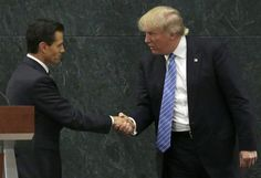 Mexican President Enrique Peña Nieto and Republican presidential nominee Donald Trump shake hands after a joint statement in Mexico City last week. Carrier Job, Puerto Rico, Donald Trump Policies, Odyssey Online, Surprise Visit, South Of The Border, Shake Hands, Presidential Candidates