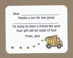 Set of 10 Custom Dump Truck Fill in the Blank Cards - Boy Thank You Cards - Little Boy Birthday Party Thank Yous