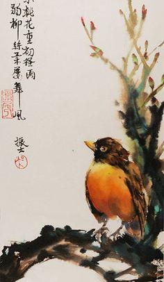 James Wu_Chinese Painting_bird_robin