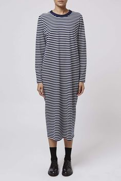 Striped Long Sleeved Midi Dress by Boutique