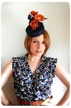 Wild Orange Poppy navy blue small by RedDragonflyAKATOMBO on Etsy, £135.00