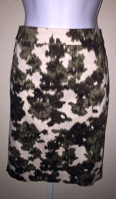 J. Crew Green Ivory Print Straight Pencil Skirt Size 5 Cotton Stretch Career   | eBay
