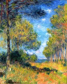 """Path at Varengeville -1882- Claude Monet. Monet also undertook his first drawing lessons from Jacques-François Ochard, a former student of Jacques-Louis David. On the beaches of Normandy in about 1856/1857, he met fellow artist Eugène Boudin, who became his mentor and taught him to use oil paints. Boudin taught Monet """"en plein air"""" (outdoor) techniques for painting. Both received the influence of Johan Barthold Jongkind. On 28 January 1857, his mother died. At the age of 16, he left school."""