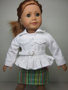 American Girl doll clothes  White jean jacket by JazzyDollDuds, $22.00 - This is just so darn cute....