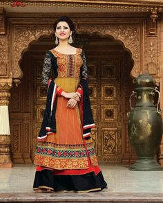 Multicolor lehenga style suit with heavy embroidered border   1. Multicolor net embroidered anarkali suit 2. Comes with matching bottom and dupatta3. Can be stitched upto bust size 42 inches