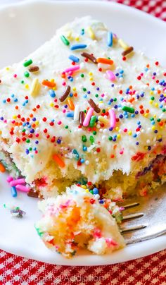 Soft, buttery, fluffy Funfetti Sheet Cake to feed a hungry, sprinkle loving crowd! Love this recipe.