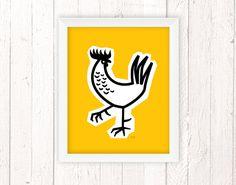 Rooster Decor, Chicken Art Print, Mid Century Modern 11x14