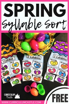 FREE Spring Syllable Sort FREE Spring literacy center-syllable sorting activity for kindergarten, first and second grade! Easter Activities For Preschool, Sorting Activities, Free Preschool, Preschool Songs, Work Activities, Syllables Kindergarten, Kindergarten Centers, Spring School, Spring Theme