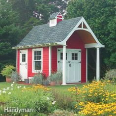 Here are complete DIY plans and instructions for building this 10-ft. x 12-ft. shed. It has double-doors for wide access, a covered entry and fiber-cement s