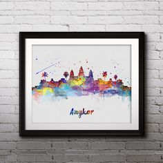 Angkor Cambodia Skyline poster, Art Print, painting, Wall Home decor, room decor