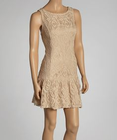 Take a look at this Beige Lace Sleeveless Drop-Waist Dress by Bailey Blue on #zulily today!