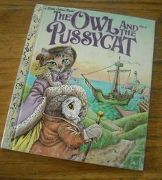 Vintage 80s children's book ~ The Owl and the Pussycat ~ a Little Golden Book